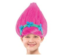 Wholesale Wig Accessories Supplies - Wholesale- Trolls Poppy Wig For Kids 36cm Wig Children Cosplay Party Supplies Trolls Wig IN STOCK