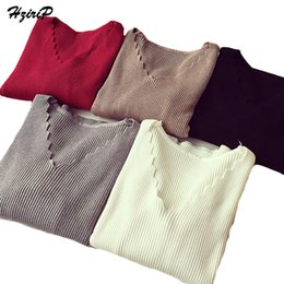 Wholesale Laced Bottom Sweaters - Wholesale- 2017 Cashmere Sweater Fashion Female Spring New V-neck Wave Short Paragraph Bottoming Knitting Lace Up Cultivating Wild Pullover