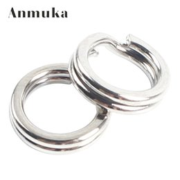 Wholesale Double Fishing Rings - Anmuka 50pcs Fishing Split Rings For Crank Hard Bait Silver Stainless Steel 5#-11# Double Loop Split Open Carp Tool Fishing Accessories