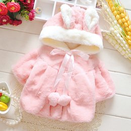 Wholesale Warmer Poncho Baby - New Arrival Baby Infant Girls Fur Winter Warm Coat Cloak Jacket Thick Warm Clothes Baby Girl Cute Hooded Long Sleeve Coats Pink White