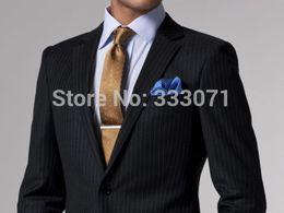 Wholesale Tailor Made Formal Pants - Wholesale- tailor made New Black Stripe Groom Tuxedos Groomsmen Best Man Men Wedding Suits formal business (Jacket+Pants+Tie) F32