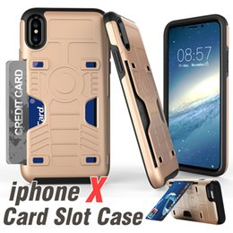 Wholesale Shell Case Blackberry - Card Slot Cases For iPhone X 8 8 plus Hybrid Armor Case For Galaxy Note8 S8 2 in 1 Kickstand Hard Shell Case With Opp Package