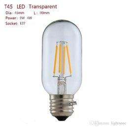 Wholesale T45 Vintage - 10PCS E27 2W 4W retro Vintage Edison LED Filament Bulb 110V 220V T45 CE RoHs Certification chandelier bulbs