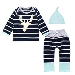 Wholesale Baby Boutique Hats - Wholesale Boys Girls Baby Childrens Clothing Sets Striped Tshirts Harem Pants Hats Set Spring Autumn Toddler Costumes Boutique Clothes Suits