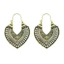 Wholesale Gold Heart Shape Earrings Jewelry - Bohemia Ethnic Antique Gold Silver Color With Heart Shape Hollow Drop Earrings For Women Accessories Fashion Jewelry