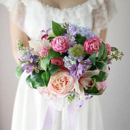 Wholesale Silk Bouquet Hydrangea Rose - Vintage Pink Artificial Wedding Bridal Bouquet 2017 Rose Peony Hydrangea Cymbidium Lace Crystal Bride Bridesmaids Brooch Wedding Decoration