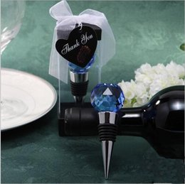 """Wholesale Gift Bottle Wine - Blue And Silver Crystal Ball Wine Bottle Stopper with """"Thank You"""" Love Signage Wedding Favor Gift"""