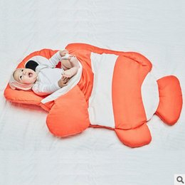 Wholesale Baby Bedding Fish - Infant sleeping bags newborn kids stripe clown fish outdoor swaddler babies shark blanket wrap baby bedding stroller wrap sleep sack R0051