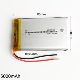 Wholesale camera power box - Model 105080 3.7V 5000mAh Lithium Polymer Li-Po Rechargeable Battery For DVD PAD Mobile phone GPS Power bank Camera E-books Recoder TV box