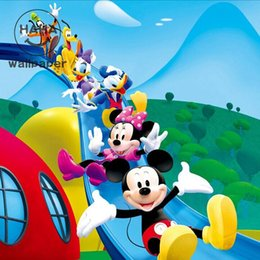 Wholesale Heat Mouse - Wholesale-Free shipping Children bedroom sofa study entertainment hall mural wallpaper cartoon Mickey Mouse Custom size