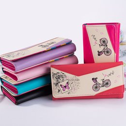 Wholesale Bicycle Bag Holder - Wholesale- Long Women PU Leather Wallet Bicycle Butterfly Print Purse Women Press Stud Cute Coin Bill Bag Card Holder Wallet