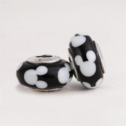 Wholesale Charm 925 Ale - 925 Sterling Silver ALE Stamped Thread Core Mickey Lampwork Beads Big Hole Murano Charm Bead Fits European Pandora Jewelry Charm Bracelets