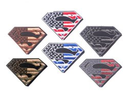 Wholesale Wholesale Hollywood Fashion - Fashion diamond shape patchwork american flag emboridry patch stick-on DIY badge Hollywood moive USA superman patches