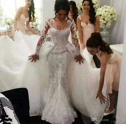 Wholesale Wedding Detachable Train - Middle East 2016 Wedding Dresses Mermaid Bridal Dresses Trailing Sexy Lace Overskirts Berta Bridal Wedding Gowns Luxury Dress Detachable
