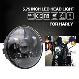 "Wholesale 9v Motors - Headlight H4 5.75"" 40W Led Chip High Low Beam 20W Led Headlamp Motorcycle Headlights for Harley Motor Bike 9V 12V"