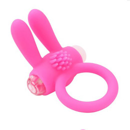 Wholesale Silicon Penis Sleeve - Pink Vibrating Rabbit Silicon Sleeves Penis Silicone Cock Ring Penis Ring Sex Toy Sex Products for Men Penis Product