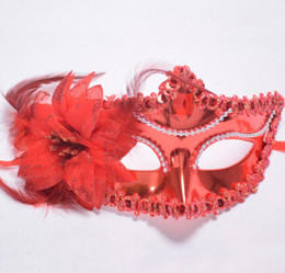 Wholesale Lady Mask Masquerade - Bead Chain Big Rose Flower Mask Party Ball Masquerade Masks Italian Princess of Venice Mask Woman Lady Wedding Decoration
