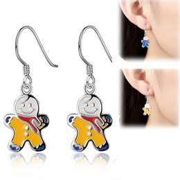 Wholesale Earring Hooks Men - Lovely Christmas Gingerbread Man Silver Plated Blue Yellow Christmas Theme Charms Hook Earrings For Women Jewelry Gifts Dangle Earrings E836