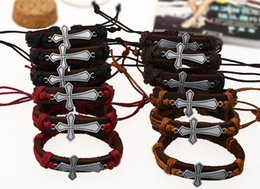 Wholesale Mens Crosses Wholesalers - church gift cross Jewelry fashion Leather bracelet Handmade Charms Bracelet Lover Gift Christian mens women free shipping