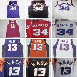 Wholesale White Colleges - Throwback 34 Charles Barkley Basketball Jerseys Black Yellow Purple White Retro 13 Steve Nash Jersey College 11 Nash Red Shirt
