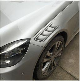 Wholesale Custom Car Stickers Decals - 1Pair Shark Gills Car Styling 3D Vent Air Flow Fender Chrome Glue Sticker Decal Car Truck Headlight Decoration Custom Sticker