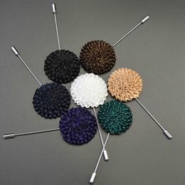 Wholesale Mens Flower Lapel Pins - Wholesale- Fashion Accessories 1PC Mens Gift Korean Handmade Lapel Flower Boutonniere Stick Brooch Pin for Men's Suit Clothing Accessories