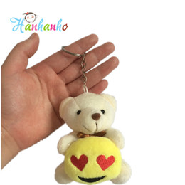 Wholesale Stuffed Animals Wedding Bears - Wholesale- 2016 New Arrival 8cm Plush Teddy Bear Hug Emoji Key Chain Small Stuffed Animal Pendant Wedding Gift Metal Key Ring