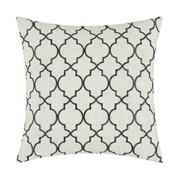 "Wholesale Stone Cushions - CaliTime Cushion Cover Pillows Shell Home Decor Poly Linen Blend Modern Trellis Chain Accent Stone Black 17""X17""(43cmX43cm)"