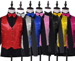 Wholesale Stage Clothes For Men - New Mens Fashion Sequins Slim Waistcoat Stage Performances Vest Sleeveless Jacket Stage Show Clothes For Mens B532