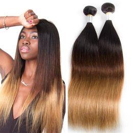 Wholesale Pure Silk Stockings - Stock Brazilian Virgin Human Hair Silk Straight 1B 4 27 Ombre Hair Weaves for Women 3PCS Free Shipping