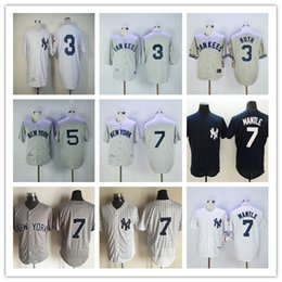 Wholesale Black Yellow Stripe Shirt - New York Yankees Throwback Baseball 7 Mickey Mantle 3 Babe Ruth 5 Joe DiMaggio Jerseys Navy Blue Gray White Stripe Shirts Authentic Stitched