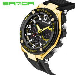 Wholesale Digital Watc - 2017 New SANDA Luxury Brand Men Military Sports Watches Waterproof LED Date Silicone Digital Watch For Men G style digital-watc