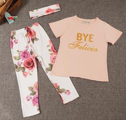 Wholesale Girls Floral Shirts - INS Baby Clothes T-shirt+Pants Girls Letter Short Sleeve T-shirt Floral Pants Baby Headbands Cotton Infant Newborn Children Kids Set 594
