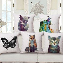 Wholesale Making Pillow Covers - Animal Pillows Watercolor Design Bolster Cushion Cover Made Of Cotton Pillow Multi Pattern Customized Cushions Bedroom Decor Hot 15mq A R