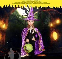 Wholesale Wholesale Seven Hats - 2017 Wholesale Halloween supplies children's dressing dancers Seven colors cloak cloak cosplay witch hat clothing props