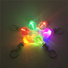 Wholesale Copper Led Flashlight - 2016 hot sale LED Bulb Shaped Ring Keychain Flashlight Colorful Key Ring Keychain Lamp Rainbow Color Romantic Lover Key chain Bulb Necklace