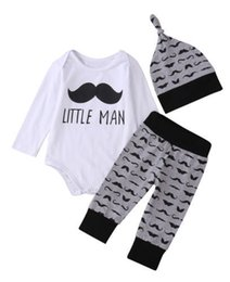 Wholesale Moustache Clothes - 2017 Spring New Baby Boy Moustache 3pcs Sets Long Sleeve Bodysuit+Pants+Hats Outfits Toddler Clothing 0-2T 170007