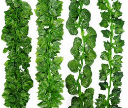 Wholesale Wholesale Silk Flower Leaves - 2M 24Pcs Wired Ivy Leaves Garland Silk Artificial Vine Greenery For Wedding Home Office Decoratiove Wreaths 2017 New Style