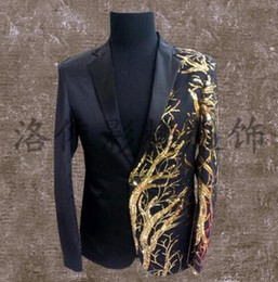 Wholesale Long Dress Jackets For Men - men suits designs masculino terno stage costumes for singers men sequin blazer dance clothes jacket style dress punk rock