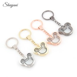 Wholesale Living Memory Lockets Keychains - Alloy Plain Mickey Head Locket Keychain Living Memory Magnetic Glass Key Rings Jewelry Handmade 5pcs Free Shipping