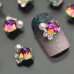 Wholesale 3d nail art pearls - 10pc Crystal Rhinstone Pearl 3d Nail Charms For Nail Art Decorations DIY Glitter Alloy Nails Tools Free Shipping