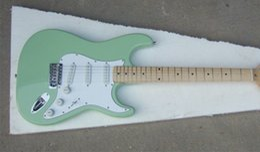 Wholesale Guitarra Custom Shop - Wholesale Custom Shop High Quality Light Green ST Maple Fretboard 6 string Electric Guitar Guitarra Free Shipping