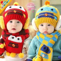 Wholesale Wholesale Crochet Car Hats - 30Set Baby Boys Girls Car Robot Style Hats Scarf 2 Piece Sets Children Winter Warmer Crochet Knitted Beanie Cap Scarf Suits Kids Accessories