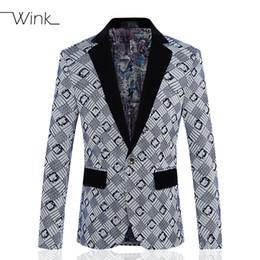 Wholesale Mens Wedding Suit Flowers - Wholesale- Woolen Blazer Men Geometry Costume Mens Suit Jacket Flowers Slim Fit Thick Big Size 5XL Single Button Fashion Wedding Dress S1