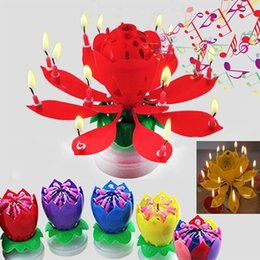 Wholesale Birthday Lotus Blossom - Colorful Petals Music Candle Children Birthday Party Lotus Sparkling Flower Candles Squirt Blossom Flame Cake Accessory Gift HH7-204