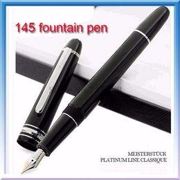 360 bateria on-line-Canetas de luxo Clássico 14 K Canetas 145 preto Fountain pen / caneta esferográfica com snap estilo cap papelaria material de escritório escrita resina caneta presente