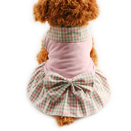 Wholesale Dog Girl Clothing - armipet Plaid lapel Dog Dresses Princess Dress For Dogs Skirt 6071004 Pet Puppy Girl Clothing SuppliesXS, S, M, L, XL