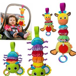 Wholesale Musical Baby Bedding - Wholesale- Infantino Twist Caterpillars Sound Hanging Baby Rattles with Teethers Multifunction Bed Car Hang Toy Baby Musical Bug MU885887