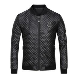 Wholesale Leather Jackets Branded - 2017 High quality leisure men's skull fashion cotton-padded clot brand luxury PU leather coat black jacket 5785 #