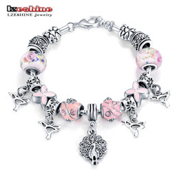 Очарование павлин онлайн-Wholesale-LZESHINE Rhinestone European Pink Color  Peacock Charm Women Bracelet Fashion Charm Bracelets Bangles Jewelry Gift PCBR0114